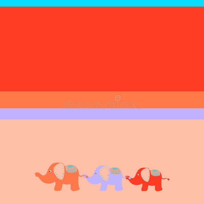 De achtergrond van heldere kinderen met drie leuke olifanten royalty-vrije illustratie