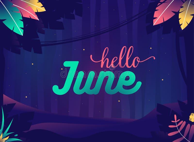 De achtergrond van Hello Juni De zomernacht met veenmollen Wildernis met installaties en sterren royalty-vrije illustratie