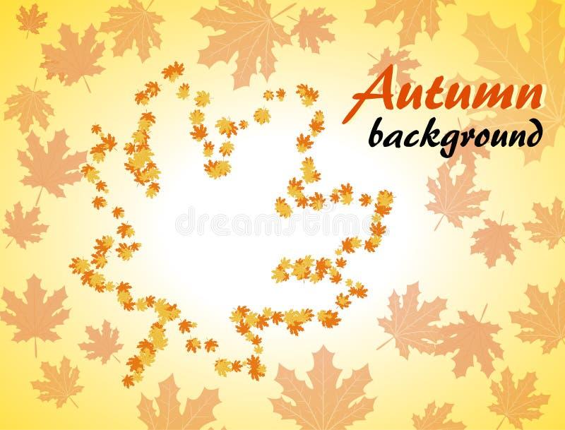 De achtergrond van de herfst met esdoornbladeren royalty-vrije illustratie