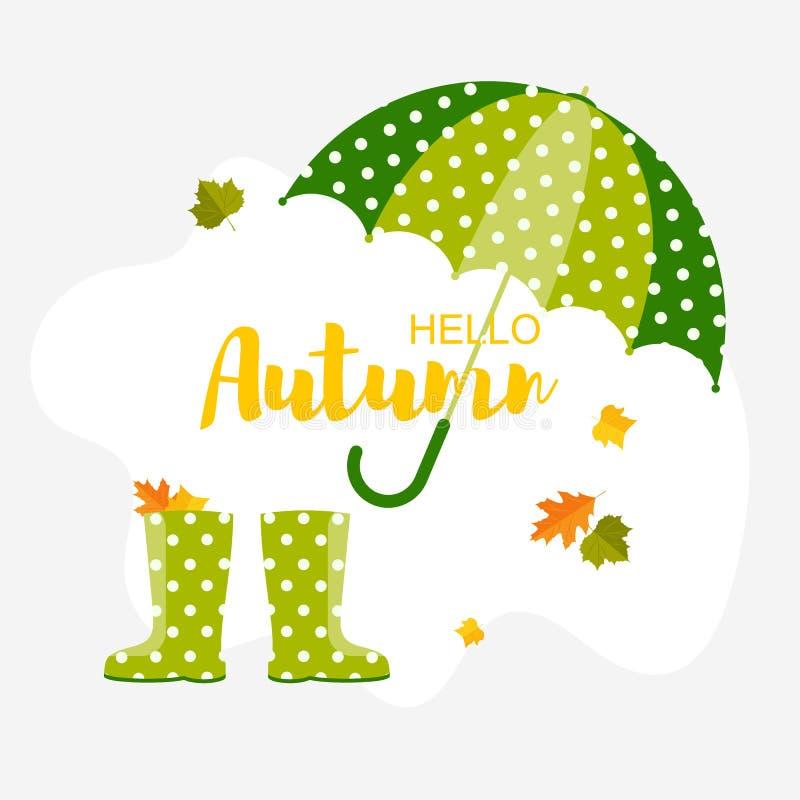 De achtergrond van de herfst Rode en oranje het bladclose-up van de kleurenKlimop Paraplu, blad en regenlaarzen royalty-vrije illustratie