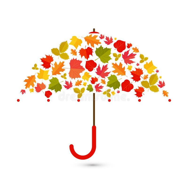 De achtergrond van de herfst Rode en oranje het bladclose-up van de kleurenKlimop Paraplu van bladeren vector illustratie