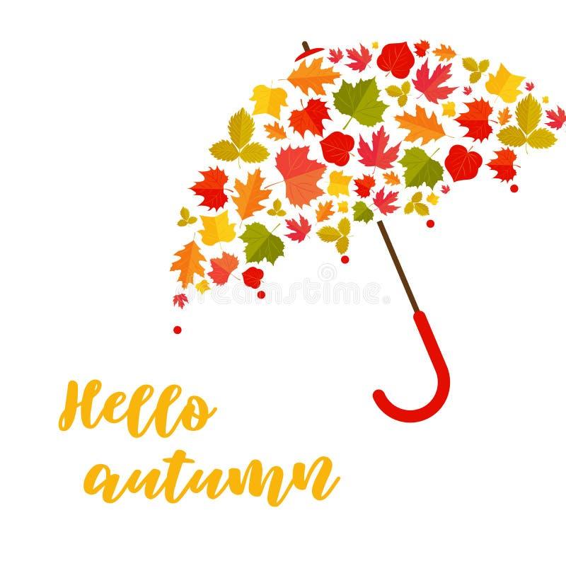 De achtergrond van de herfst Rode en oranje het bladclose-up van de kleurenKlimop De paraplu van doorbladert vector illustratie