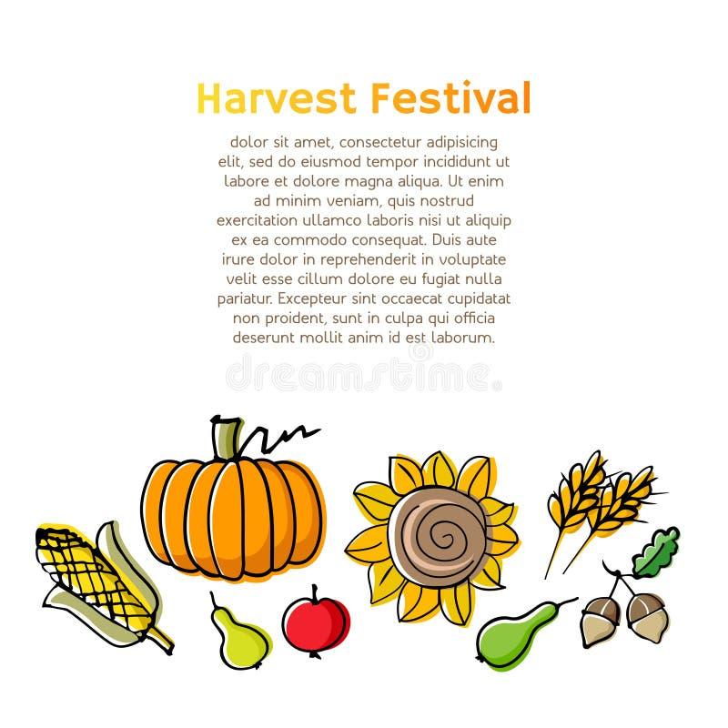 De achtergrond van de de herfstoogst met Vruchten, eikels, zonnebloem, pompoen, graan en tarwe royalty-vrije illustratie