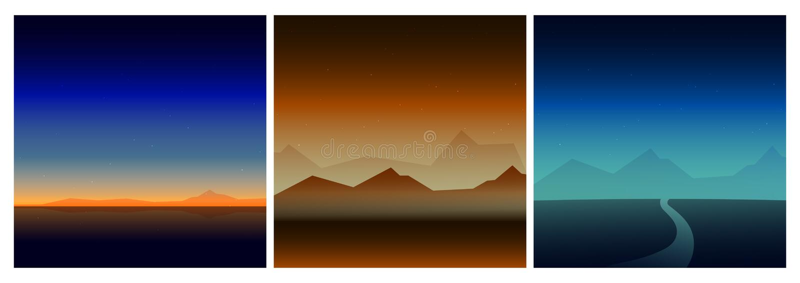 De achtergrond van het aardlandschap die in kleur drie wordt geplaatst royalty-vrije illustratie
