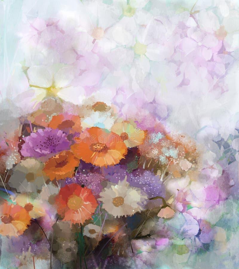De achtergrond van het bloemolieverfschilderij royalty-vrije illustratie