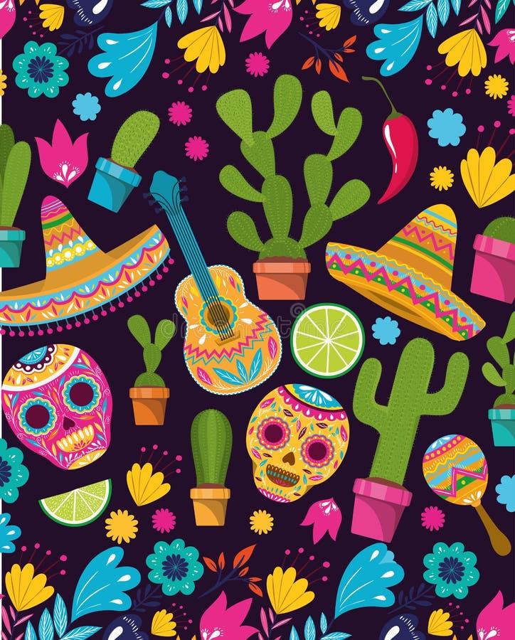 De achtergrond van het Cincode Mayo patroon vector illustratie
