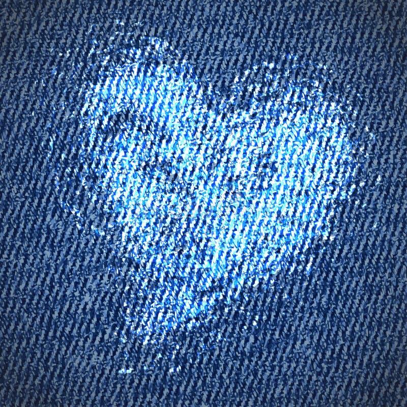 De achtergrond van het de jeanshart van de valentijnskaart vector illustratie