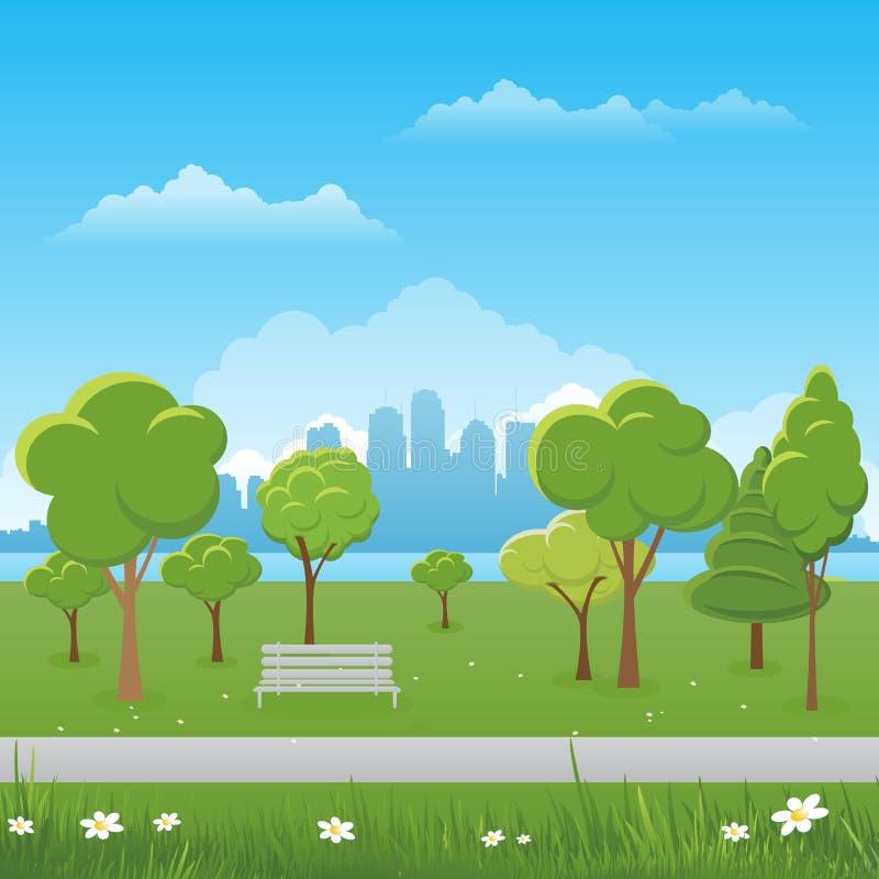 De achtergrond van het de lentelandschap Openbare park Vectorillustratie Stad op achtergrond royalty-vrije illustratie