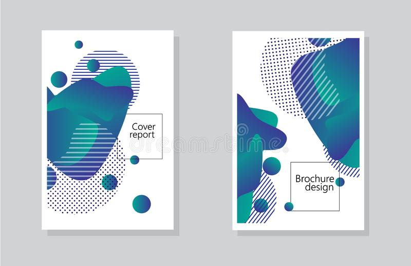 De achtergrond van het dekkingsrapport en brochureontwerp met samenvattingen geometrisch element vector illustratie