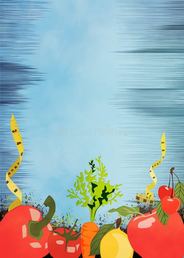 De achtergrond van het dieetvoedsel royalty-vrije illustratie