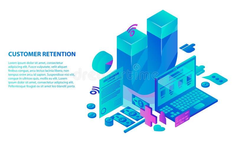 De achtergrond van het de dienstconcept van het klantenbehoud, isometrische stijl royalty-vrije illustratie