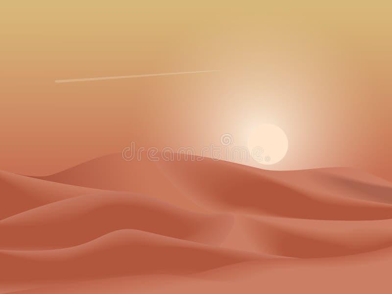 De achtergrond van het de duinenlandschap van de zonsondergangwoestijn Eenvoudige vlakke minimalism vectorillustratie royalty-vrije illustratie