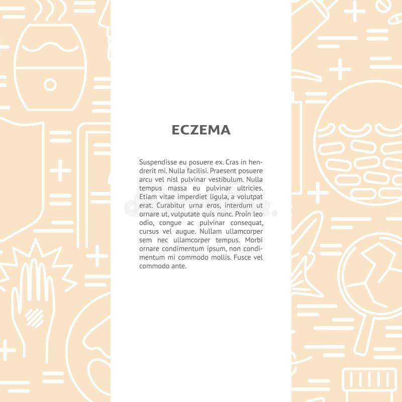 De achtergrond van het eczemaconcept in lijnstijl met plaats voor tekst royalty-vrije illustratie