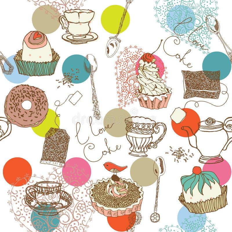 De Achtergrond van het gebakje en van de Cake royalty-vrije illustratie
