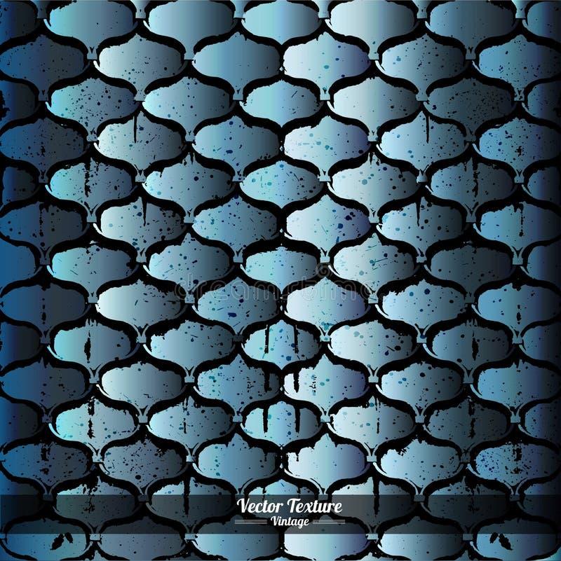 De achtergrond van het gietijzernet met blauwe grungetextuur vector illustratie