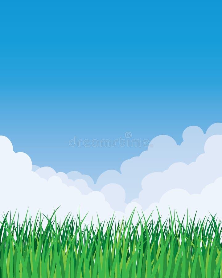 De Achtergrond van het gras en van de Hemel stock illustratie