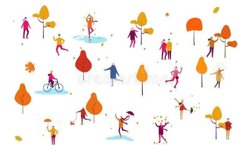 De achtergrond van het de herfstseizoen met mensen Vlakke stijl vectorillustratie royalty-vrije illustratie