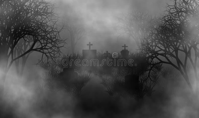 De achtergrond van het de illustratieontwerp van het begraafplaatsconcept royalty-vrije illustratie