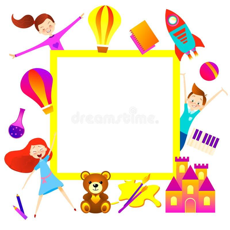 De achtergrond van het jong geitjebeeldverhaal Het karakter van het pretkind, banner royalty-vrije illustratie