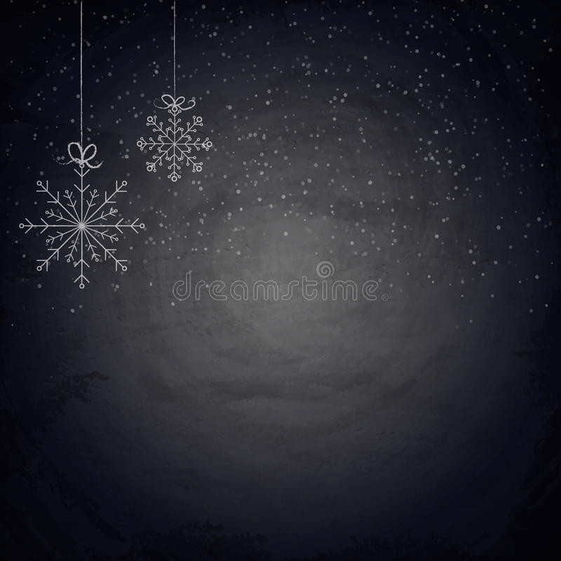 De achtergrond van het Kerstmisbord met sneeuwvlokken royalty-vrije illustratie