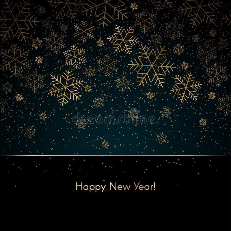 De achtergrond van het Kerstmisnieuwjaar met gouden van de het Nieuwjaar Blauwe winter van de sneeuwvlokkentekst Gelukkige Kerstm royalty-vrije illustratie