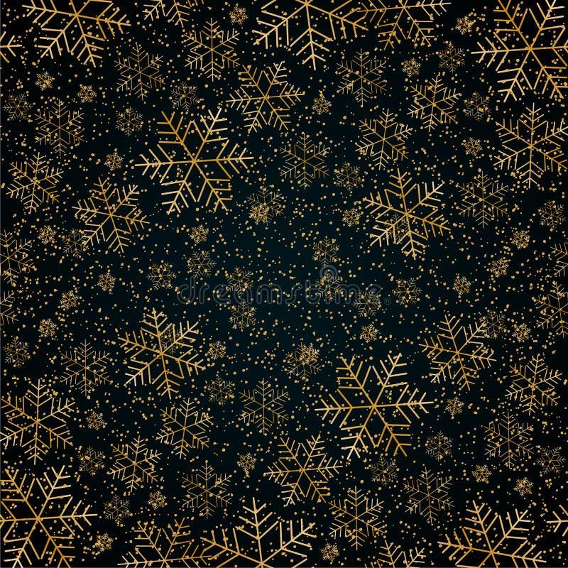 De achtergrond van het Kerstmisnieuwjaar met gouden sneeuwvlokken en schittert Blauw feestelijk elegant Kerstmis als achtergrond  royalty-vrije illustratie
