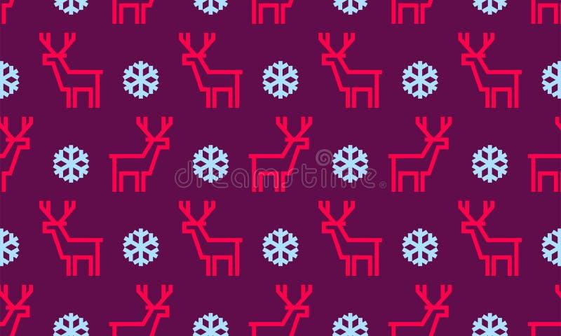 De achtergrond van het Kerstmispatroon van naadloze hertenrendier en sneeuwvlokken royalty-vrije illustratie