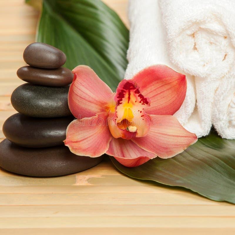 De achtergrond van het kuuroord Witte handdoeken op exotische installatie, mooie orchidee royalty-vrije stock fotografie