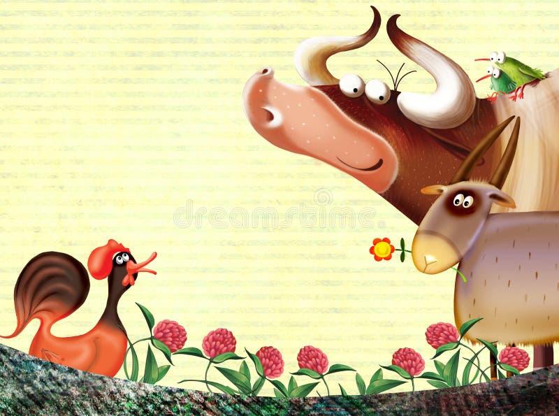 De achtergrond van het landbouwbedrijf met dieren stock illustratie