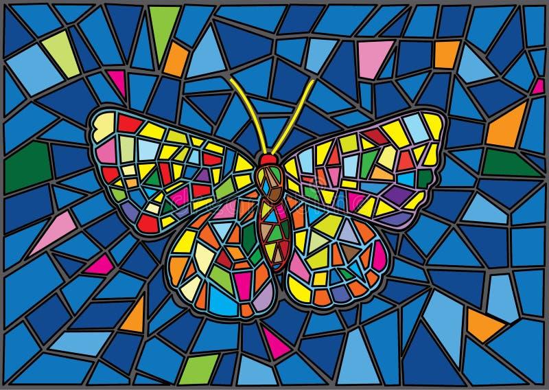 De achtergrond van het het Moza?ekonduidelijke beeld van het vlindergebrandschilderde glas stock illustratie