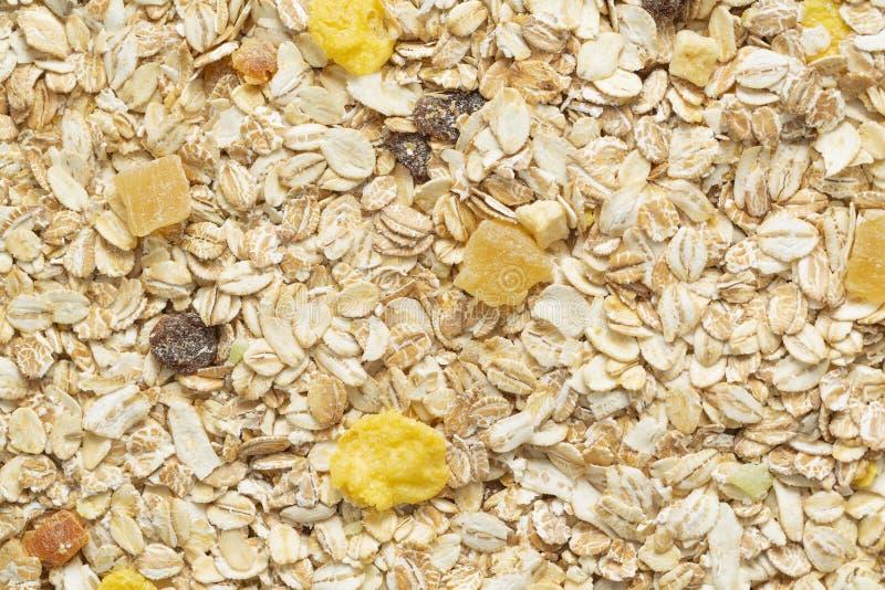 De achtergrond van het Muesliontbijt Organisch knapperig eigengemaakt graangewas met haver en bessen Het concept het gezonde eten stock foto's