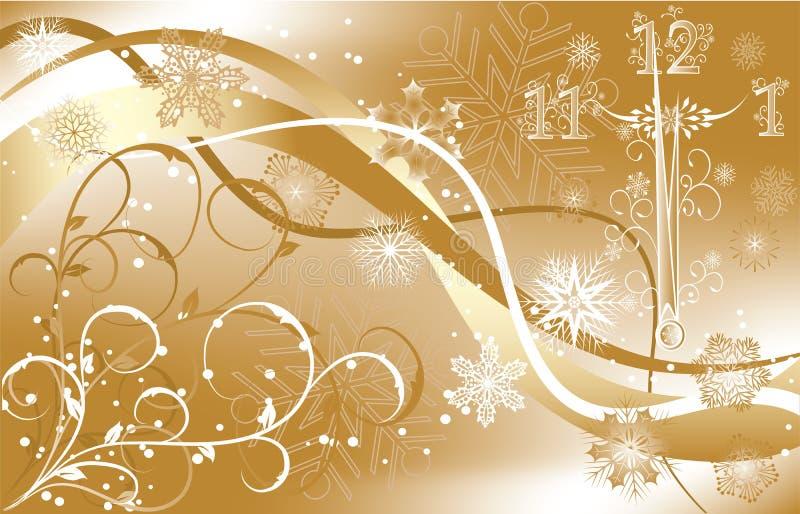De achtergrond van het nieuwe jaar met klok, vector vector illustratie