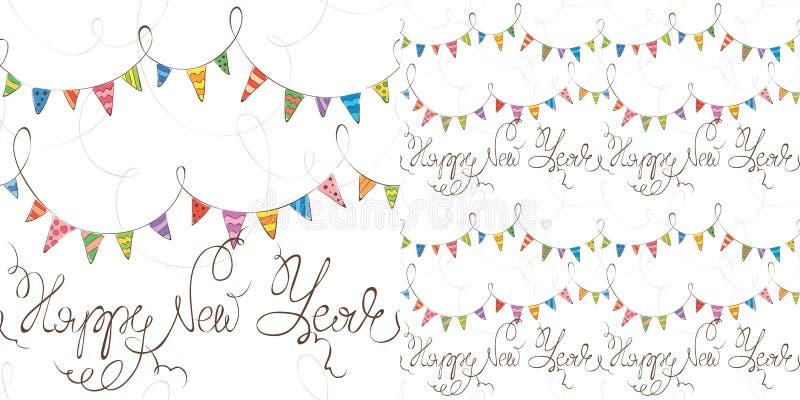 De achtergrond van het nieuwe jaar met vlaggen royalty-vrije illustratie