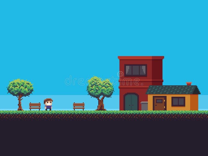 De Achtergrond van het pixelspel vector illustratie