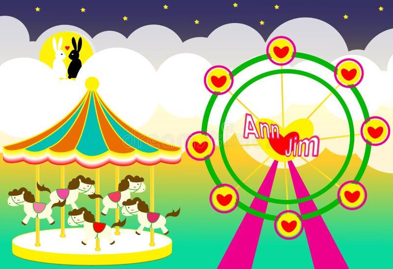 De achtergrond van het pretparkhuwelijk met carrousel en ferriswiel en konijnenminnaar stock illustratie