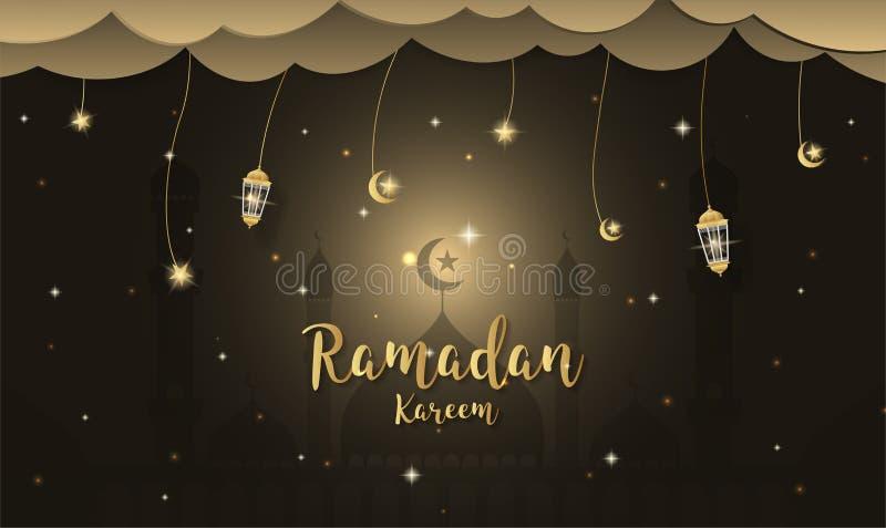 De achtergrond van het Ramadan kareem Beeldverhaal Het concept van het festivalontwerp vector illustratie