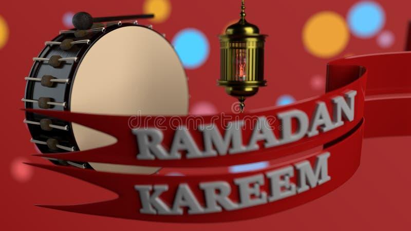 De achtergrond van het Ramadan kareem concept, het 3d teruggeven royalty-vrije illustratie