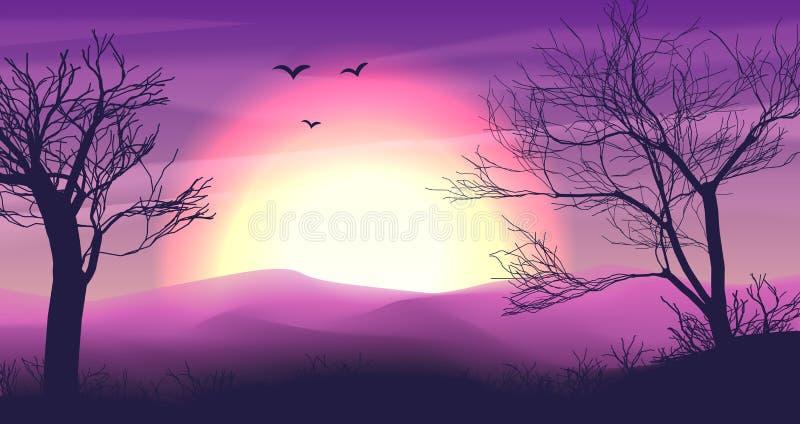 De achtergrond van het safaribeeldverhaal, het panorama van de woestijnsavanne en landschap met bomen, heuvels, duinen en maan Ge royalty-vrije illustratie