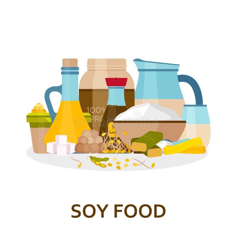De achtergrond van het sojavoedsel in vlakke stijl vector illustratie