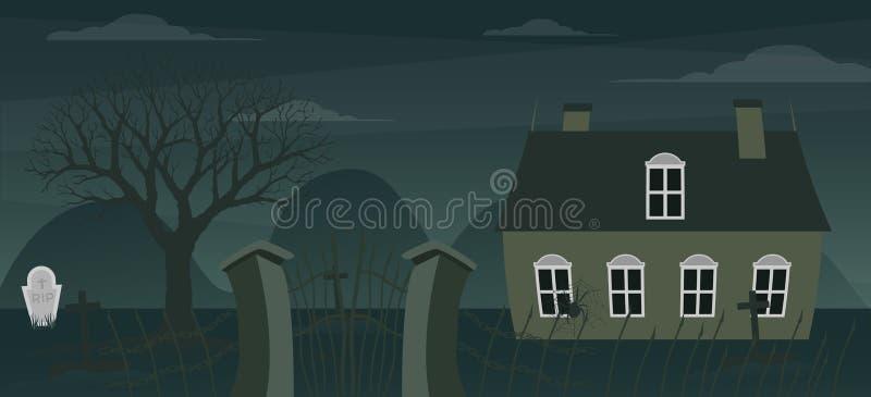 De achtergrond van het spookhuis royalty-vrije illustratie