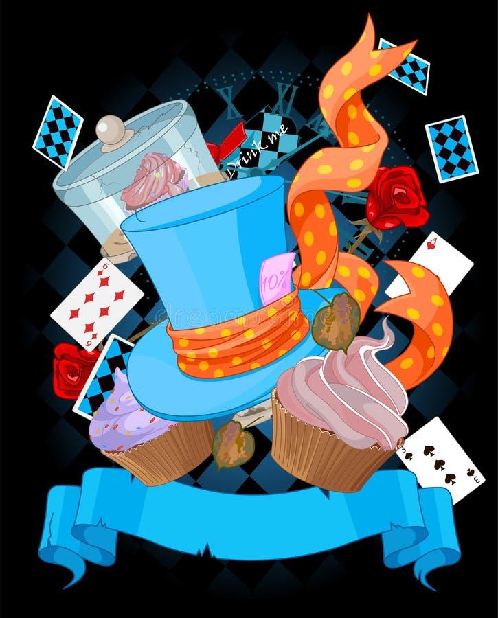 De achtergrond van het sprookjesland cupcake stock illustratie
