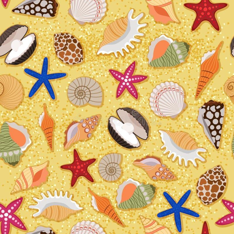 De achtergrond van het strandzand met overzeese shells vector illustratie