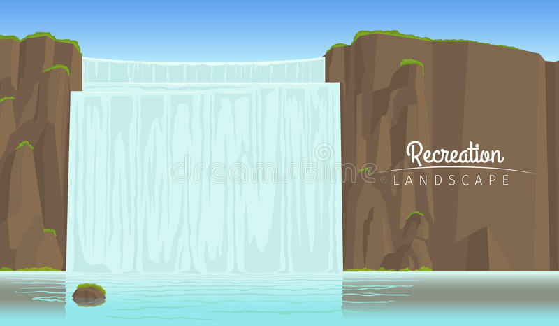 De achtergrond van het toerismelandschap met waterval stock illustratie