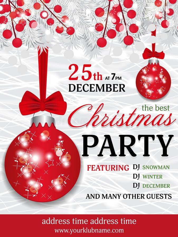 De achtergrond van het de uitnodigingsmalplaatje van de Kerstmispartij met spar witte br vector illustratie