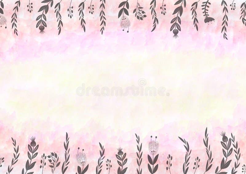De Achtergrond van het waterverfpatroon met Roze en Bloemengrens stock illustratie