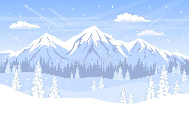 De achtergrond van het de winterlandschap met de de bosbergen en sneeuw van pijnboombomen stock illustratie