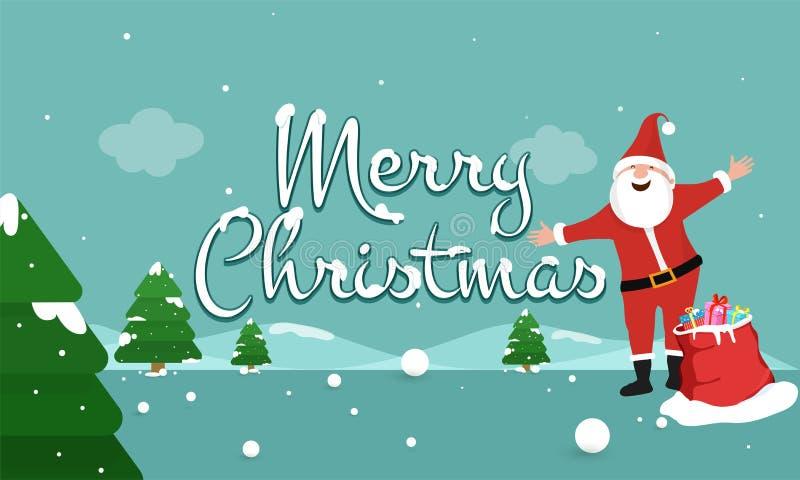 De achtergrond van het de winterlandschap met gelukkige santa voor Vrolijke Kerstmis stock illustratie