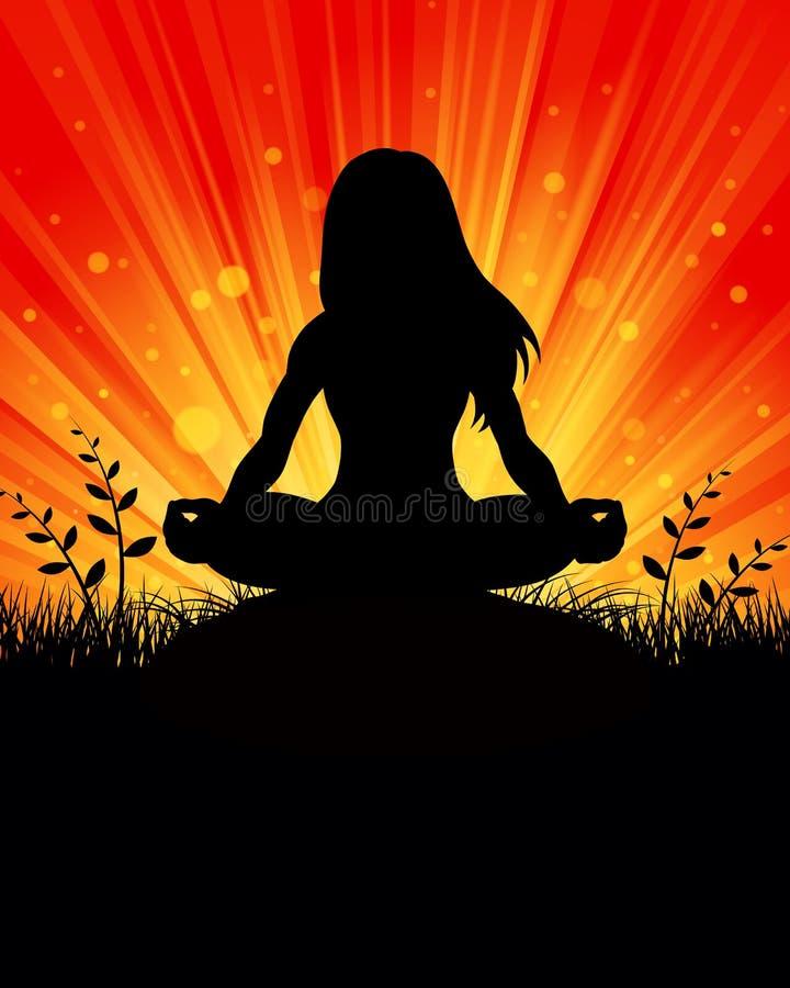 De Achtergrond van het yogasilhouet vector illustratie