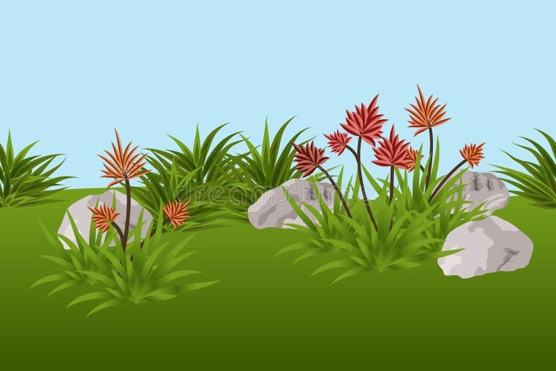 De achtergrond van het de zomerlandschap met tropische bloemen, bladeren royalty-vrije illustratie