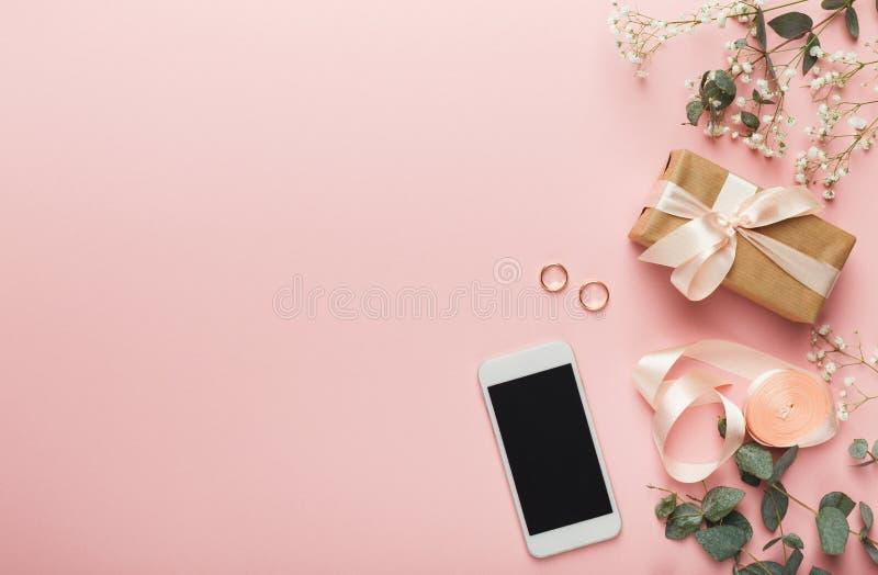 De achtergrond van huwelijksvoorbereidingen stock afbeeldingen